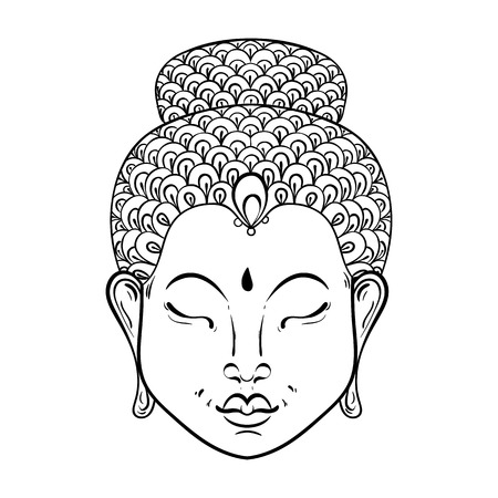 Vector artistically Portrait of Buddha for ornamental adult coloring pages, Buddhism tattoo art, ethnic patterned t-shirt print. Monochrome hand drawn religion illustration in doodle style. Illustration