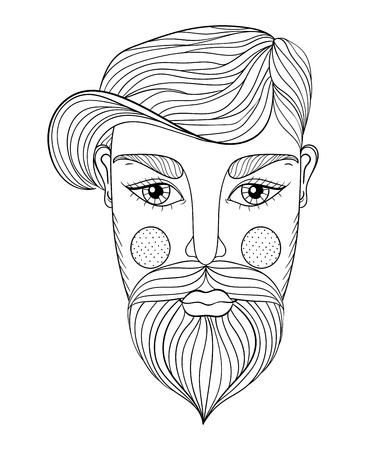 Vector Zentangle Retrato De Hombre Con El Bigote Bearder Para ...