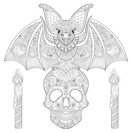 anti stress: stylized Bat seating on sugar Skull with candles for Halloween. Freehand sketch for adult anti stress coloring page with doodle elements. Artistic ethnic black vector illustration for  t-shirt print
