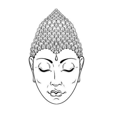 budda: Vector Portrait of Buddha for ornamental adult coloring pages, Buddhism tattoo art, ethnic patterned t-shirt print. Monochrome hand drawn religion illustration in doodle style.