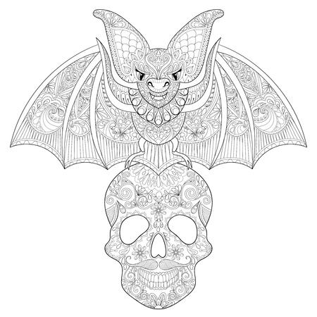 Stilisierte Fledermaus Sitz Auf Zuckerschädel Für Halloween ...
