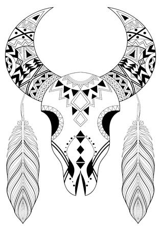 Cráneo Animal Con Dos Plumas. Dibujado A Mano étnica De Los Animales ...