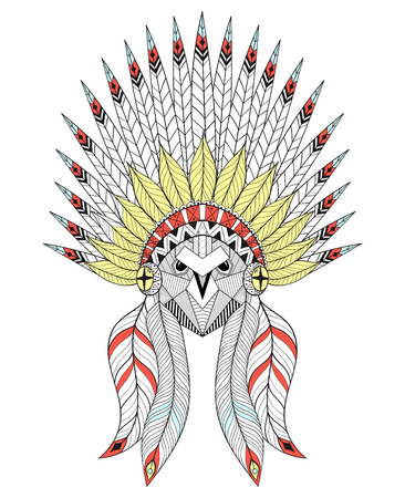 Vector Owl with War Bonnet. American native headdress with color feathers for adult coloring pages, ethnic patterned t-shirt print, tattoo design. Boho chic style. Doodle Illustration. Illustration