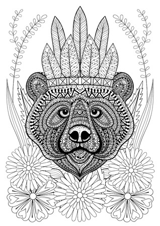 bonnet: stylized bear with war bonnet on flowers. Hand drawn ethnic animal for adult coloring pages, art therapy, boho t-shirt print, posters, t-shirt. Vector isolated illustration. A4 size.