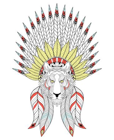 indios americanos: Tigre del vector con la Guerra del capo. tocado americano con las plumas para colorear páginas para adultos, camiseta de la impresión estampado étnico, diseño del tatuaje. Boho chic. Ilustración del Doodle.