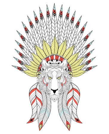tiger page: Vector Tiger with War Bonnet. American headdress with  feathers for adult coloring pages, ethnic patterned t-shirt print, tattoo design. Boho chic style. Doodle Illustration. Illustration