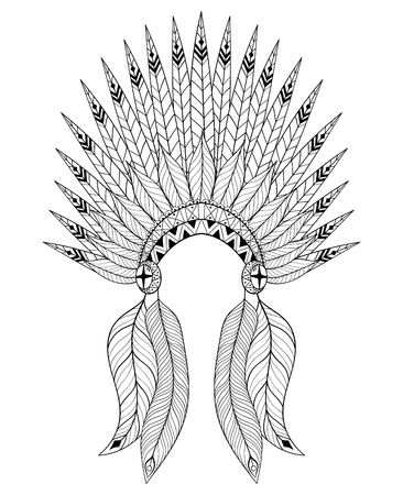 bonnet illustration: Bohemian vector War Bonnet with feathers. Decorative headdresst for adult coloring page, ethnic patterned t-shirt print. Bohochic american style. Doodle Illustration, tattoo design.