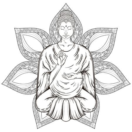 buddha image: Vector Sitting Buddha in Lotus pose, isolated on mandala, teaching Buddhism, tattoo art, religion t-shirt print. Monochrome vintage hand drawn illustration.  Spiritual, yoga motifs, symbol of Tibet, Asia.