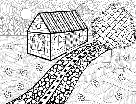 hills: Country landscape patterned background for adult coloring book. Hand drawn artistic vector illustration with house, trees, clouds, flowers and sun in ethnic, tribal style. Doodle design. A4 size.
