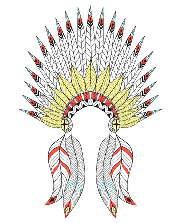 bonnet illustration: Vector War Bonnet with color feathers. American native headdress for adult coloring pages, ethnic patterned t-shirt print, tattoo design. Boho chic style. Doodle Illustration. Illustration
