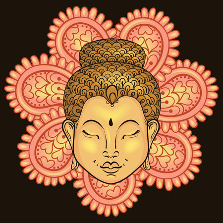 serene people: Vector artistically colorful Portrait of Buddha isolated on mandala, Buddhism tattoo art, ethnic patterned t-shirt print. Monochrome hand drawn religion illustration in doodle style.