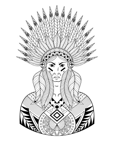 bonnet illustration: Vector Portrait of Indian head with War Bonnet. Decorative native man with feathers for adult coloring page, Tattoo art, ethnic patterned t-shirt print. Doodle Illustration design.