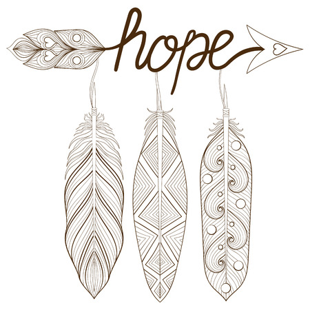 Bohemian Arrow Hand Drawn Amulet Letters Hope With Henna Feathers