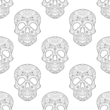 artistically: stylized  Skull for Halloween, seamless pattern with artistically doodle elements. Ethnic ornamental vector illustration for tattoo, t-shirt or prints, adult coloring book, scrapbooking