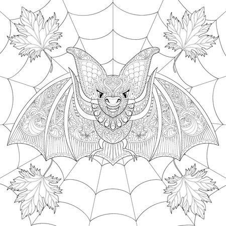 Stilisierte Fledermaus mit Herbst Blätter im Herbst auf Spinnennetz für Halloween. Handskizze für Erwachsene Anti-Stress-Malvorlagen mit Spinnweben-Doodle-Elemente. Künstlerische ethnischen schwarz Vektor-Illustration für T-Shirt Druck Standard-Bild - 64960220