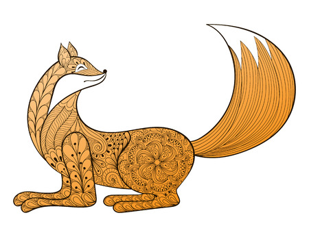 art therapy: Vector happy Fox. Hand drawn artistic Animal for adult coloring pages, art therapy, ethnic patterned t-shirt print, Boho tribal style. Isolated illustration in doodle, henna tattoo design.