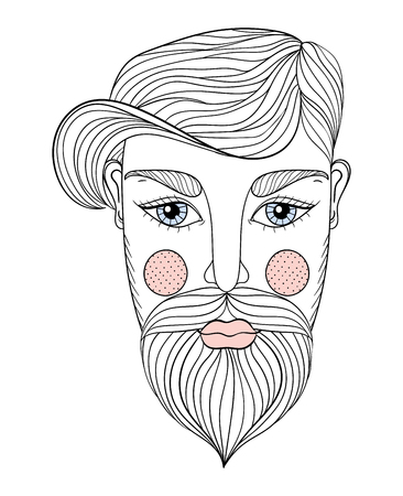 Vector Portrait of Man face with Mustache and beard for adult coloring pages, Tattoo art, ethnic patterned t-shirt print. Monochrome illustration in doodle style. Illustration