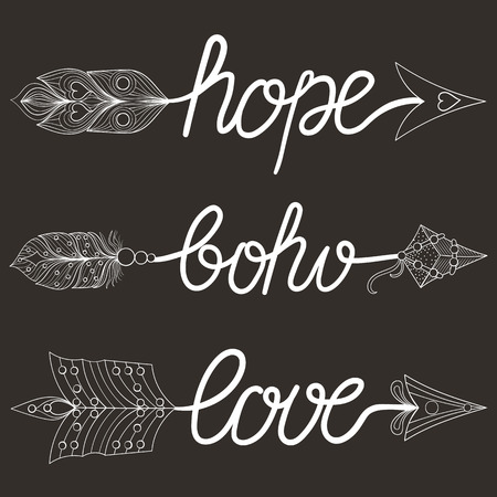 art therapy: Boho, Love, Hope Arrows  with feathers. Decorative Arrows for adult coloring pages, art therapy, ethnic patterned t-shirt print, Bohemian chic tribal style. Doodle Illustration, tattoo design.