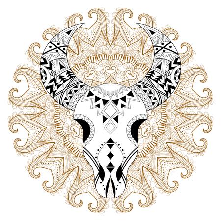 Stylized Animal Skull On Gypsy Mandala. Freehand Vector Ethnic ...