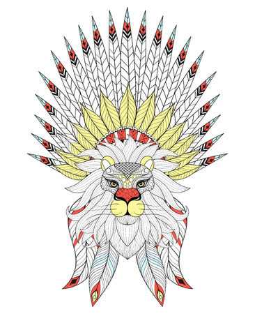 bonnet illustration: Vector Lion with War Bonnet. American native headdress with color feathers for adult coloring pages, ethnic patterned t-shirt print, tattoo design. Boho chic style. Doodle Illustration. Illustration