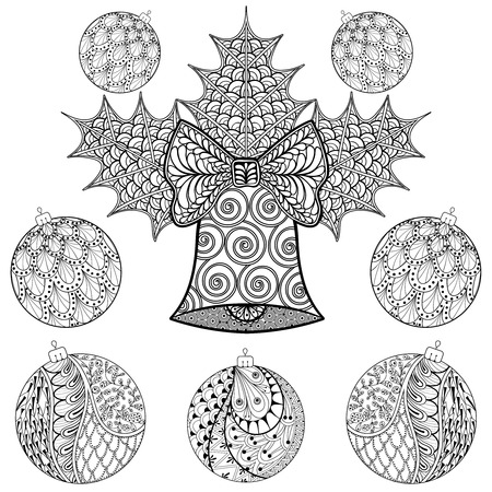 Christmas Bell With Balls In Style Freehand Ethnic Xmas Sketch For Adult Coloring Book