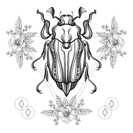 traditional tattoo: Boho tattoo. Blackwork Scarab beetle, May bug in hipster triangle frame, flowers. Vector illustration, spiritual tattoo sketch isolated on white for t-shirt print, poster, textile. Line art drawing.