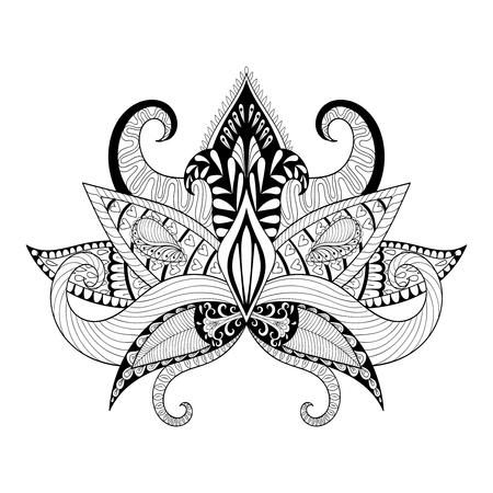 Boho ornamental lotus flower, blackwork tattoo design, Indian paisley. Hand drawn Vector illustration. Mystical, astrology, ritual, bohemian symbol in style. Illustration