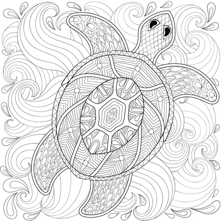 Turtle in ocean waves, style. Freehand sketch for adult coloring page, doodle elements. Ornamental artistic vector illustration for tattoo, t-shirt print. Sea animal collection.