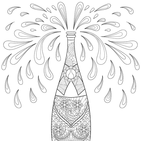 popping cork: Champagne explosion bottle, style. Freehand sketch for adult coloring page, greeting Happy 2017 New Year, poster. Ornamental artistic vector illustration for tattoo, t-shirt print.
