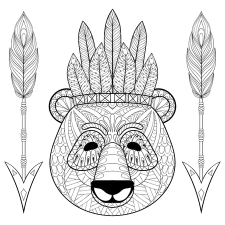 bonnet illustration: Panda with war bonnet, arrows in style. Freehand sketch for adult antistress coloring page with doodle elements. Ornamental artistic vector illustration for tattoo, t-shirt print. Animal collection.