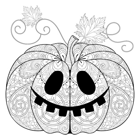 autumn colouring: stylized Pumpkin for Halloween, Thanksgiving day with artistically doodle elements. Ethnic ornamental vector illustration for tattoo, t-shirt print, adult coloring book, greeting card. Illustration