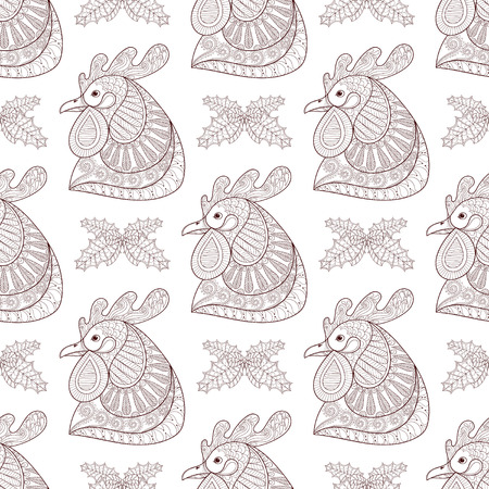 chinese adult: Cartoon rooster with mistletoe seamless pattern. Hand drawn sketch for adult coloring pages, fabric. Vector illustration for Chinese New Year 2017 greeting cards, posters, background. Illustration
