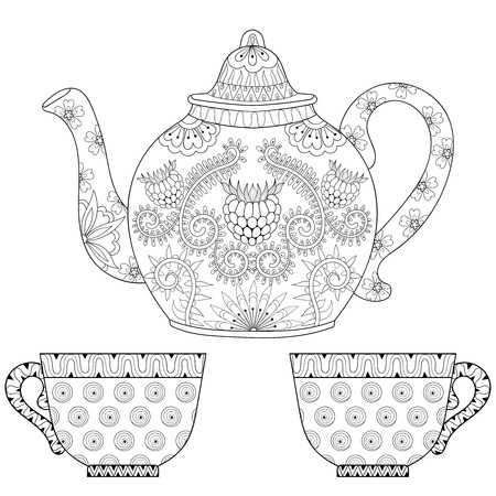 stylized ornamental teapot with cups of tea, hot beverage with artistically doodle elements. Ethnic hand drawn vector illustration for adult coloring pages.