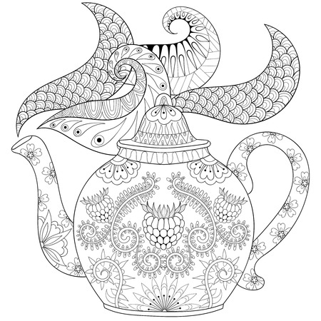 antistress: stylized ornamental teapot with steam, hot beverage with artistically doodle elements. Ethnic hand drawn vector illustration for adult coloring pages.