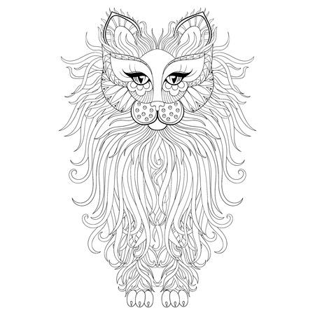 Zentangle Dibujado A Mano La Cara Del Gato Para Las Páginas De ...