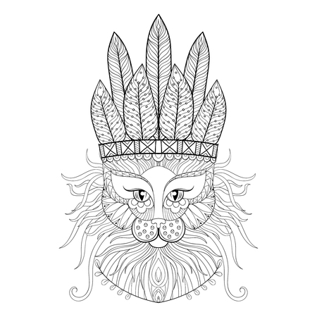 indian headdress: Fluffy Cat with war bonnet in style. Freehand sketch for adult antistress coloring page. Ornament artistic vector illustration for tattoo, t-shirt print. Animal collection.