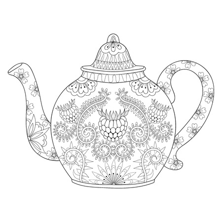 stylized ornamental teapot to make a tea, hot beverage with artistically doodle elements. Ethnic hand drawn vector illustration for adult coloring pages.