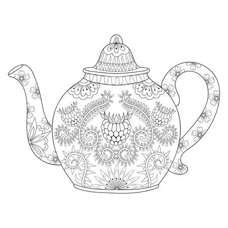 stilisierte dekorative Teekanne, um einen Tee, heißes Getränk mit künstlerisch doodle Elementen zu machen. Ethnische Hand gezeichnet Vektor-Illustration für Erwachsene Malvorlagen.