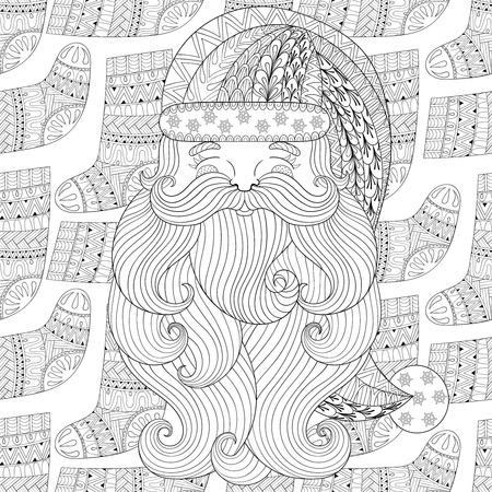 Ilustración De Estilo Mandala De Frente De Santa Claus Frente A ...