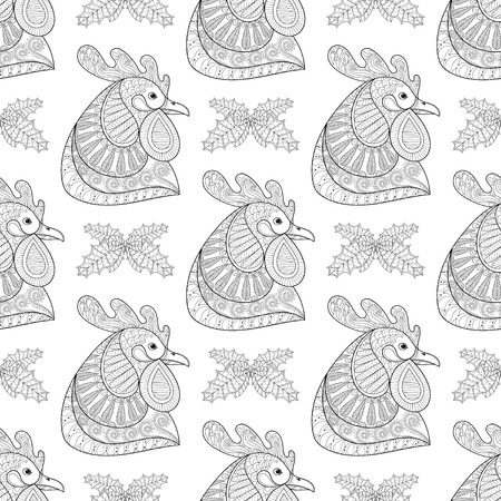 chinese adult: Cartoon Rooster with Mistletoe seamless pattern. Hand drawn monochrome sketch for adult coloring pages, fabric. Vector illustration for Chinese New Year 2017 greeting cards, posters.