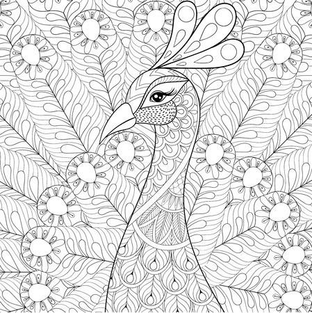 スタイルの羽を孔雀します。フリーハンド スケッチ落書き要素を持つアダルト抗ストレスの着色のページ。タトゥー t シャツ印刷の装飾用の芸術的