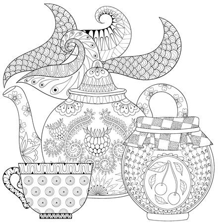 théière stylisée ornementale avec de la vapeur, tasse de thé, pot de confiture, boisson chaude avec des éléments artistiquement griffonnage. main ethnique illustration de vecteur dessiné pour des pages à colorier adultes.
