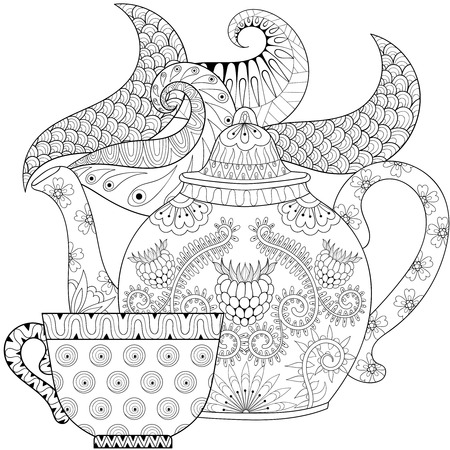artistically: stylized ornamental teapot with steam and cup of tea, hot beverage with artistically doodle elements. Ethnic hand drawn vector illustration for adult coloring pages.