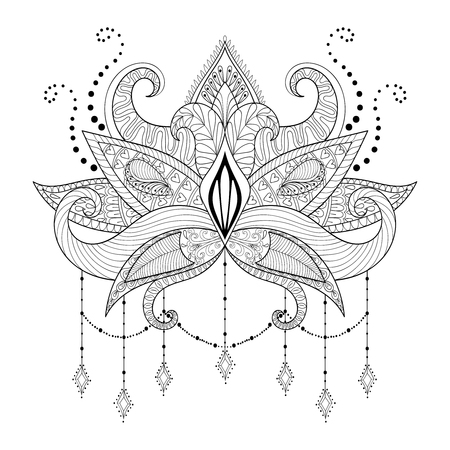 gypsy: Boho doodle Lotus flower, blackwork tattoo design, Indian paisley. Hand drawn vector isolated illustration. Mystical, astrology, ritual, bohemian, gypsy spirit, yoga symbol in style. Illustration