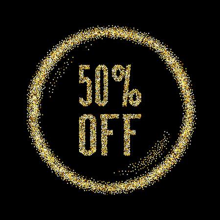 half: Sale 50 discount type on Golden glitter sparkles background, black template for banner, card, poster, flyer, web, header. Vector gold glittering illustration Illustration