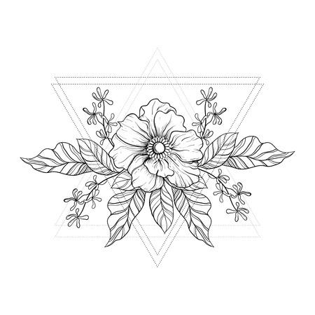 Dibujado a mano tatuaje boho. Blackwork flor en marco triángulos inconformista. Ilustración del vector, del bosquejo del tatuaje aislado en blanco para impresión de camisetas, carteles, textil. Línea dibujo del arte.