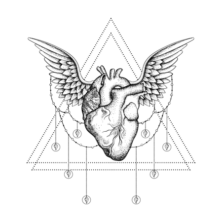 vintage illustration: Hand drawn boho tattoo. Blackwork human heart with wings in hipster triangle frame. Vector illustration, tattoo sketch isolated on white for t-shirt print, poster, textile. Line art drawing.