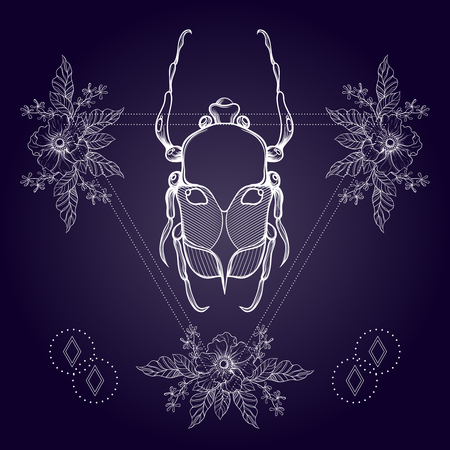 boho tatuaje. escarabajo Blackwork, insecto de mayo en el marco del triángulo del inconformista con flores. Ilustración del vector, bosquejo espiritual tatuaje aislado en oscuridad durante camiseta de la impresión, cartel, textil. Línea dibujo del arte.