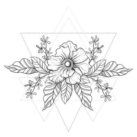 Hand getrokken boho tattoo. Blackwork bloem in hipster driehoeken frame. Line art tekening. Vector illustratie, tattoo schets geïsoleerd op wit voor t-shirt print, poster, textiel. Vector Illustratie