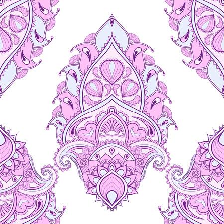 fondos violeta: hojas de color floral, loto. ornamento de Paisley de la India en estilo. boceto a mano alzada étnica para colorear página del adulto. ilustración vectorial ornamentales artística de tatuaje de henna, camiseta de impresión.